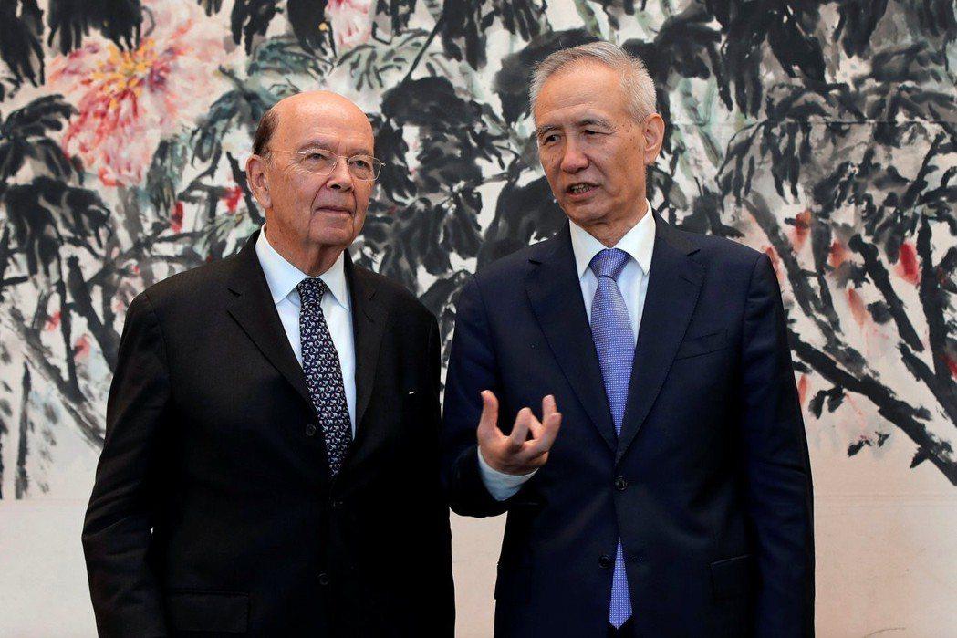 美國商務部長羅斯和大陸國務院副總理劉鶴(右)先前曾在北京會談,企圖消弭雙方的貿易...