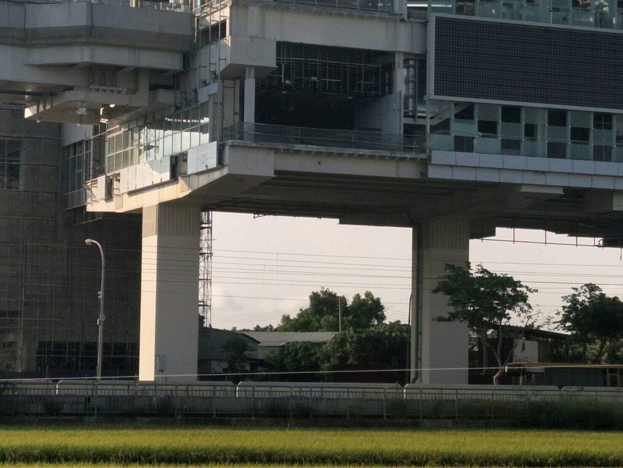台中市中捷G14站種在田中央,無路可走。 圖/吳瓊華提供