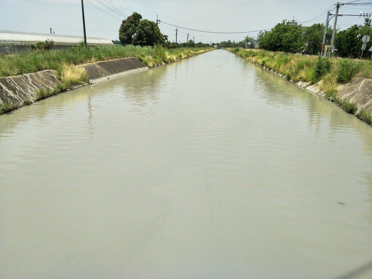 烏山頭水庫水質差,嘉南大圳南幹線水域顏色明顯趨黃。記者謝進盛╱攝影