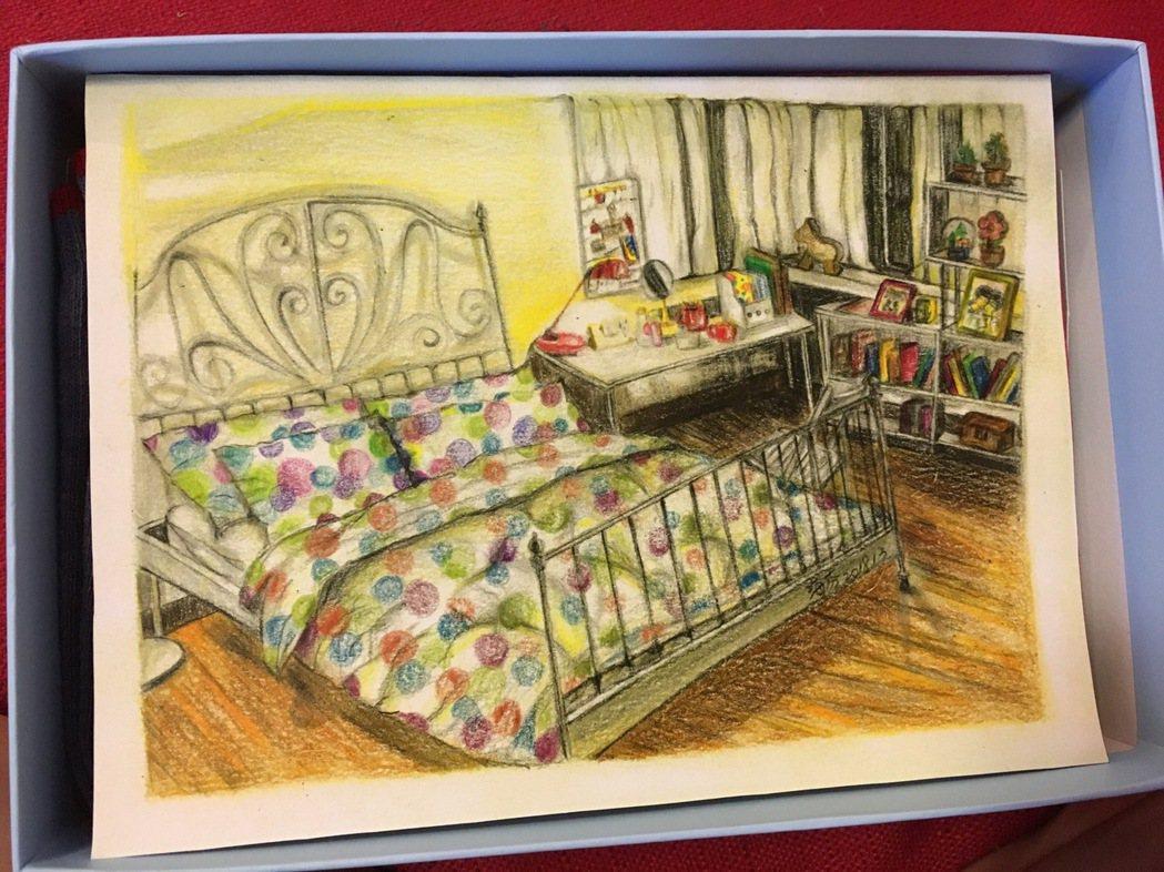 海裕芬畫楊丞琳在戲中房間場景。圖/海芬工作室提供