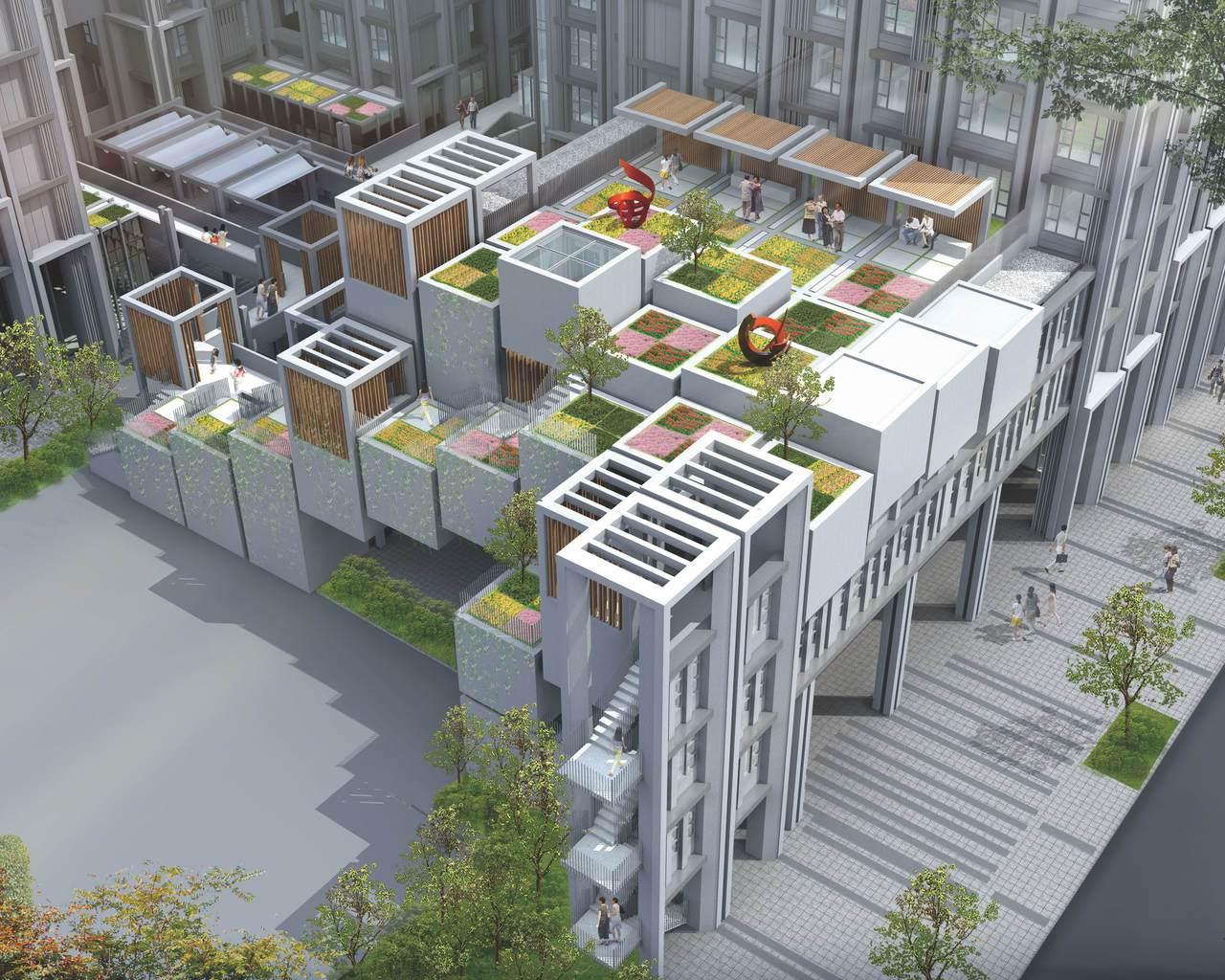 台中市規劃西屯社宅,位於豪宅林立的市中心精華地段,低層有複層植栽樹穴,宛如幾何花...