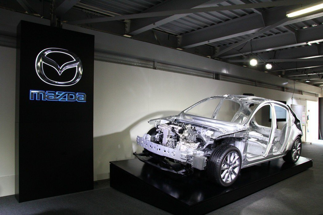 嶄新Skyactiv-Vehicle Architecture車輛結構技術,運用更多高剛性鋼材,提升車體剛性之餘還能減去10%車體重量,將成為Mazda未來乘用車主要特點。 記者張振群/攝影