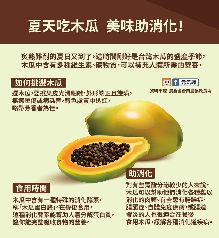 夏天吃木瓜 美味助消化。 製圖/黃琬淑