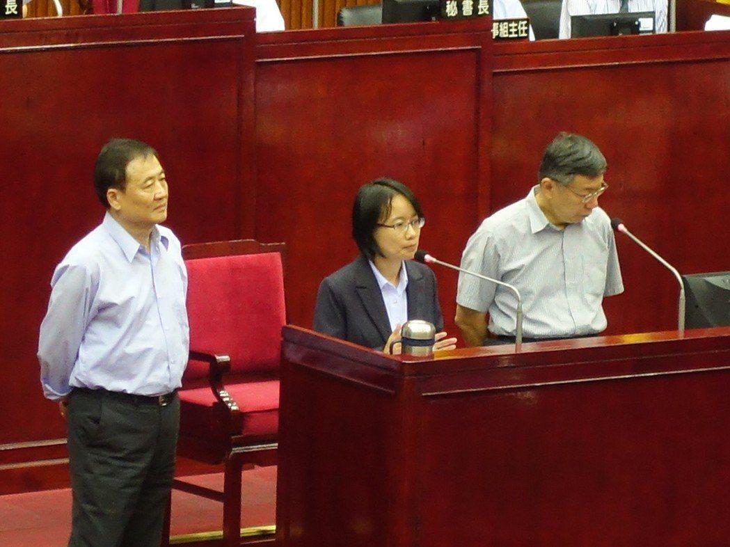 台北市長柯文哲(右)今天赴市議會總質詢。 聯合報系記者邱瓊玉/攝影