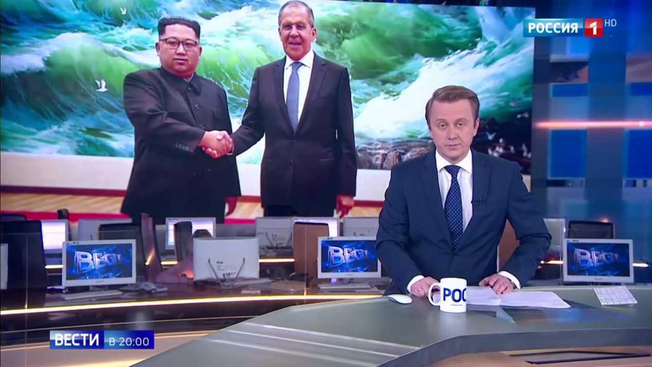 俄國電視頻道「俄羅斯-1」(Rossiya-1)新聞報導拉夫羅夫訪問北韓,卻疑似...