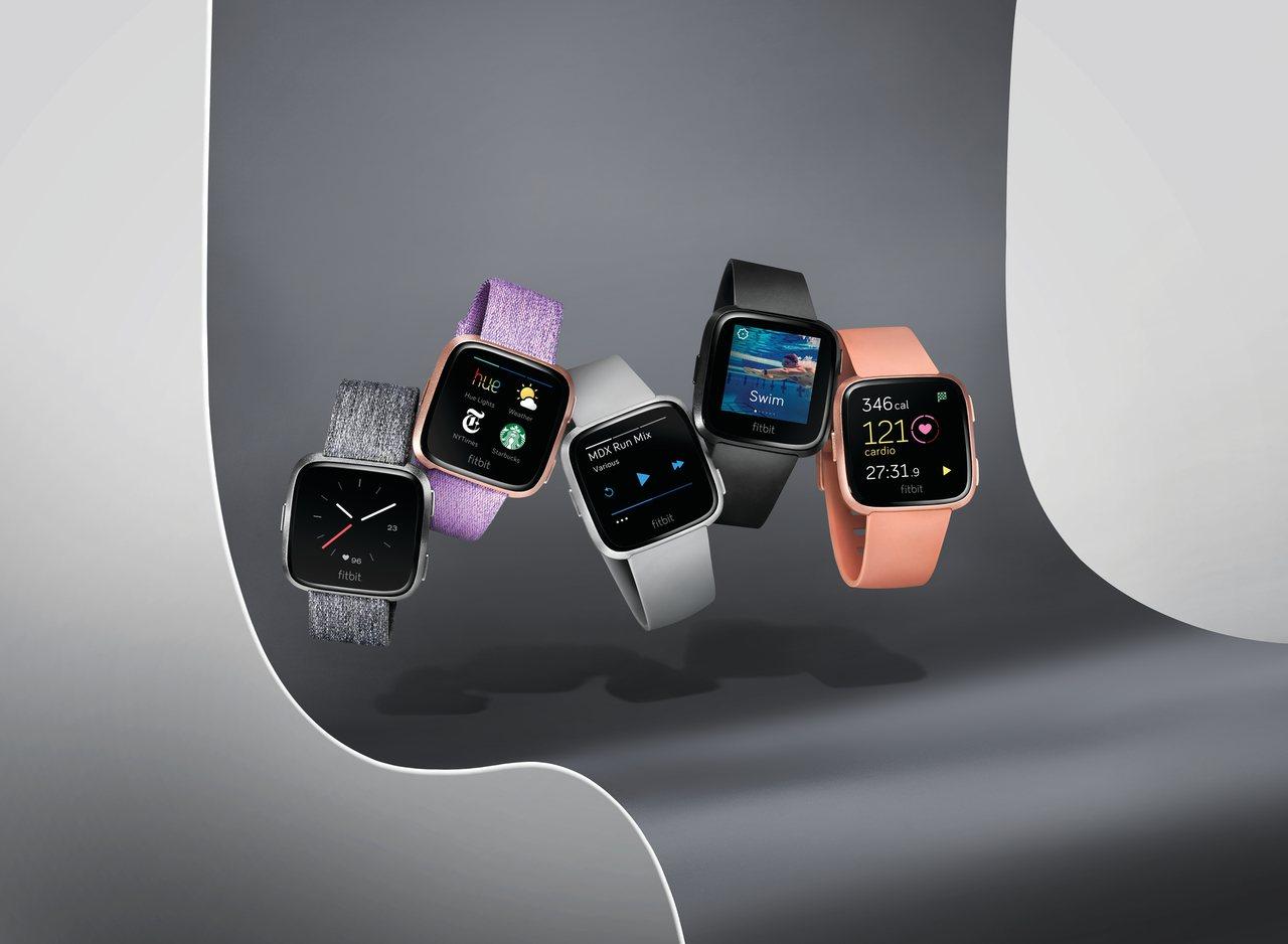 Fitbit Versa是Fitbit最輕巧的智慧手表,並擁有時髦設計。圖/Fi...