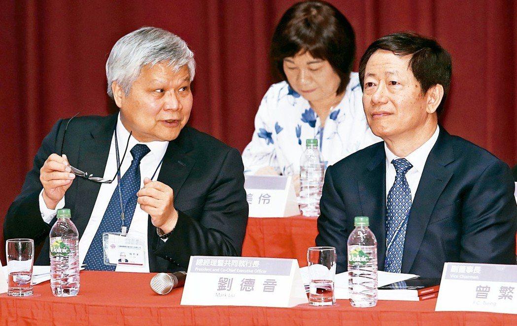 台積電創辦人張忠謀卸任後,劉德音(右)接任董事長,魏哲家(左)接任總裁。 記者杜...