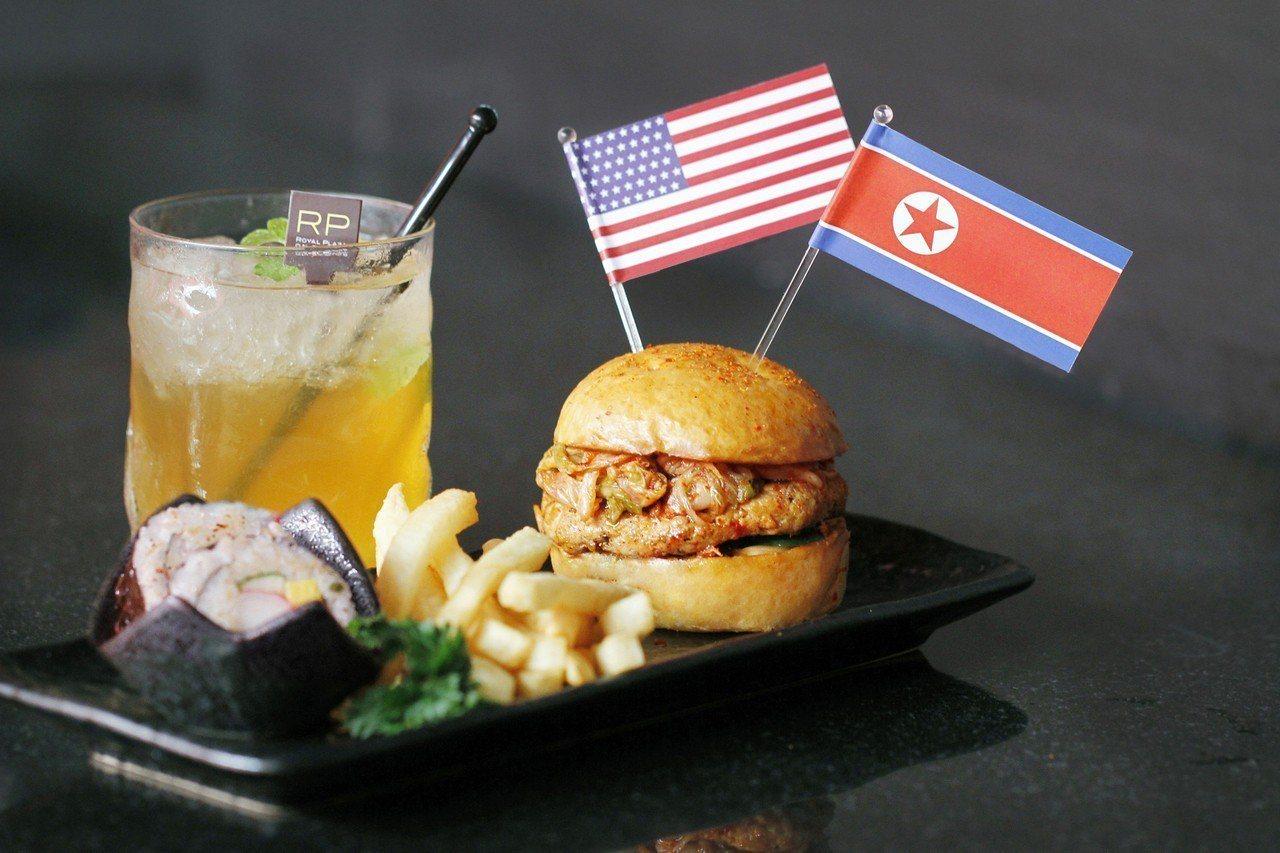 外電分析,新加坡決心要將川金會主辦成功;圖為星國觀光飯店利用漢堡與冰茶組成的「川...