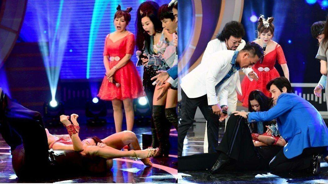 王思佳(站者)看到瑪格重摔,臉部表情大驚。圖/華視提供