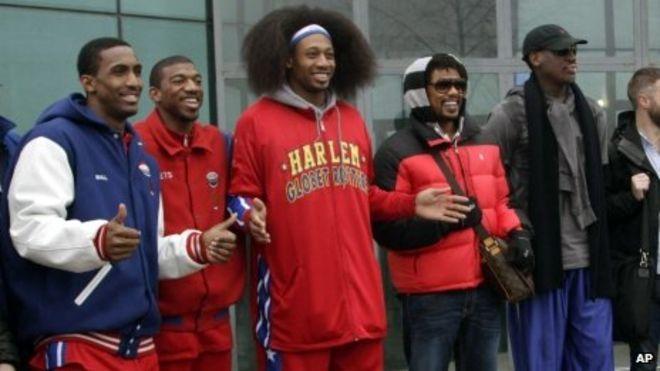 羅德曼在2013年帶領哈林籃球隊員前往北韓訪問。 (美聯社)