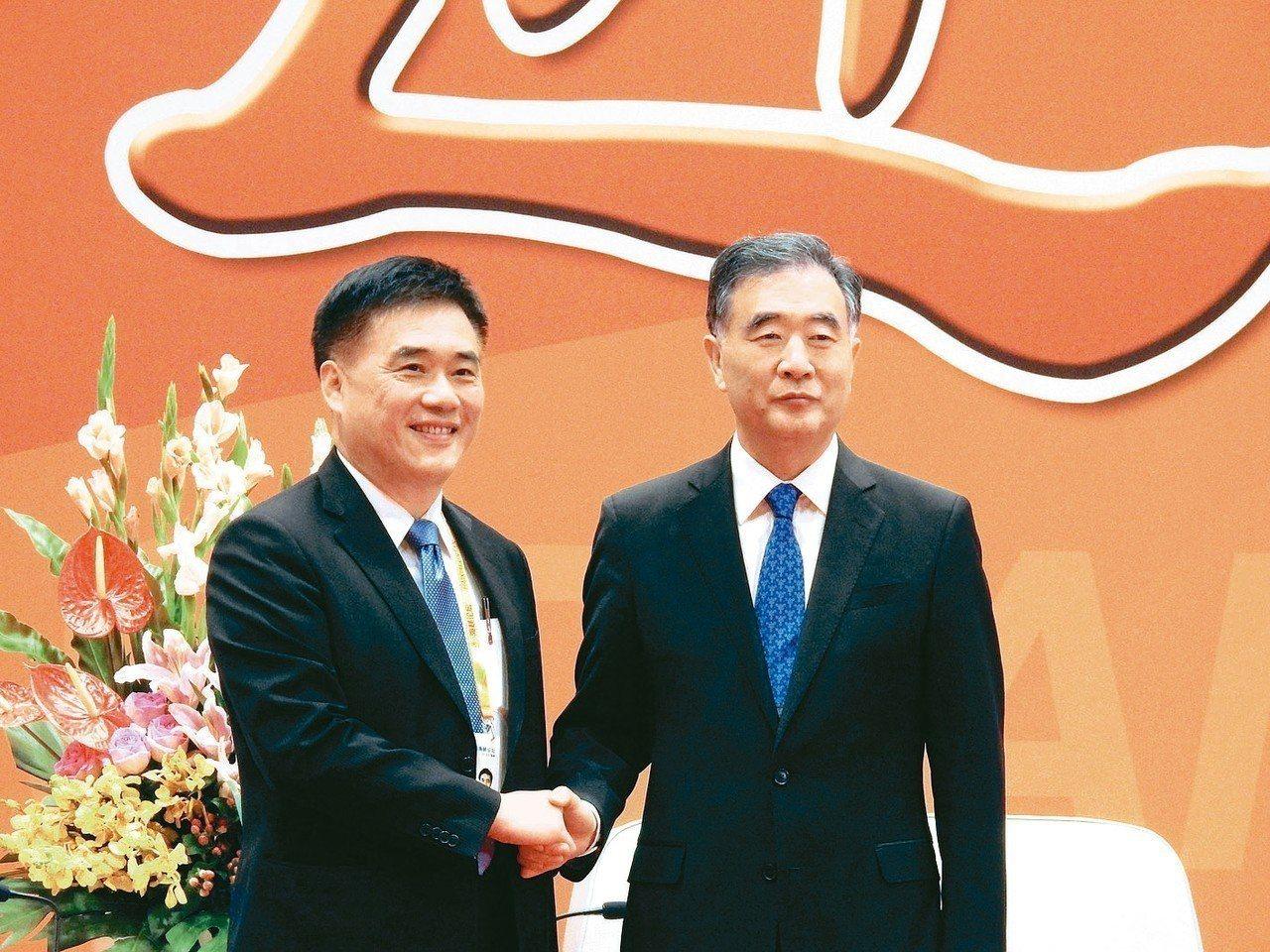 國民黨副主席郝龍斌(左)與大陸全國政協主席汪洋(右)。 特派記者林宸誼 / 攝影