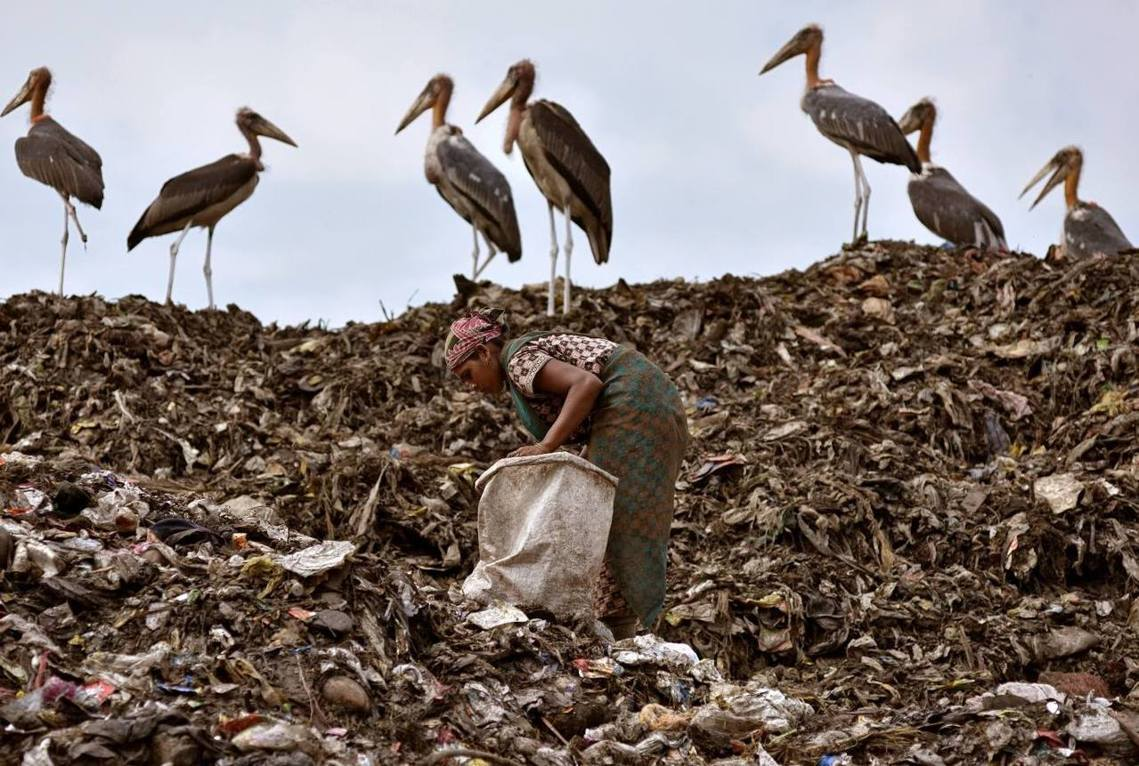 印度東北大城古瓦哈提,塑膠垃圾成山。 圖/路透社