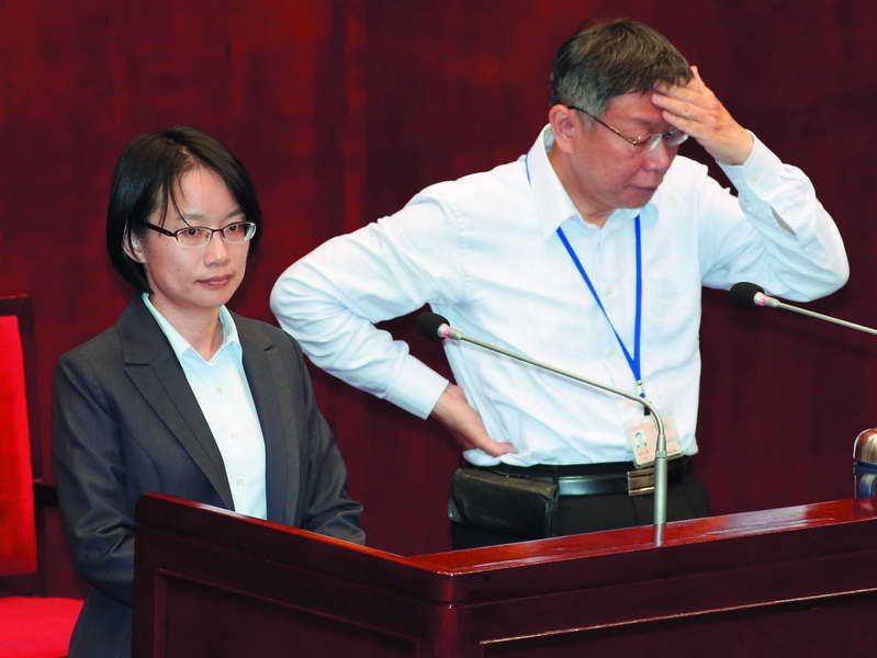 柯文哲(右)認為吳音寧(左)是進入台北政壇的小白兔。 攝影/郭晉瑋