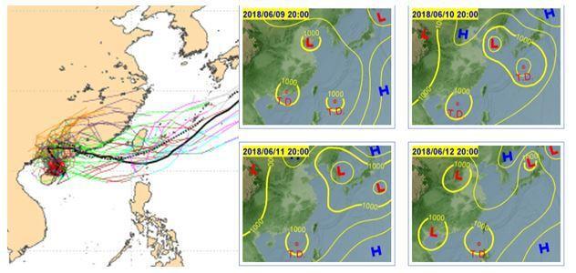 5日20時歐洲中期預報中心(ECMWF)系集模式51次的模擬顯示,大部分系集成員...