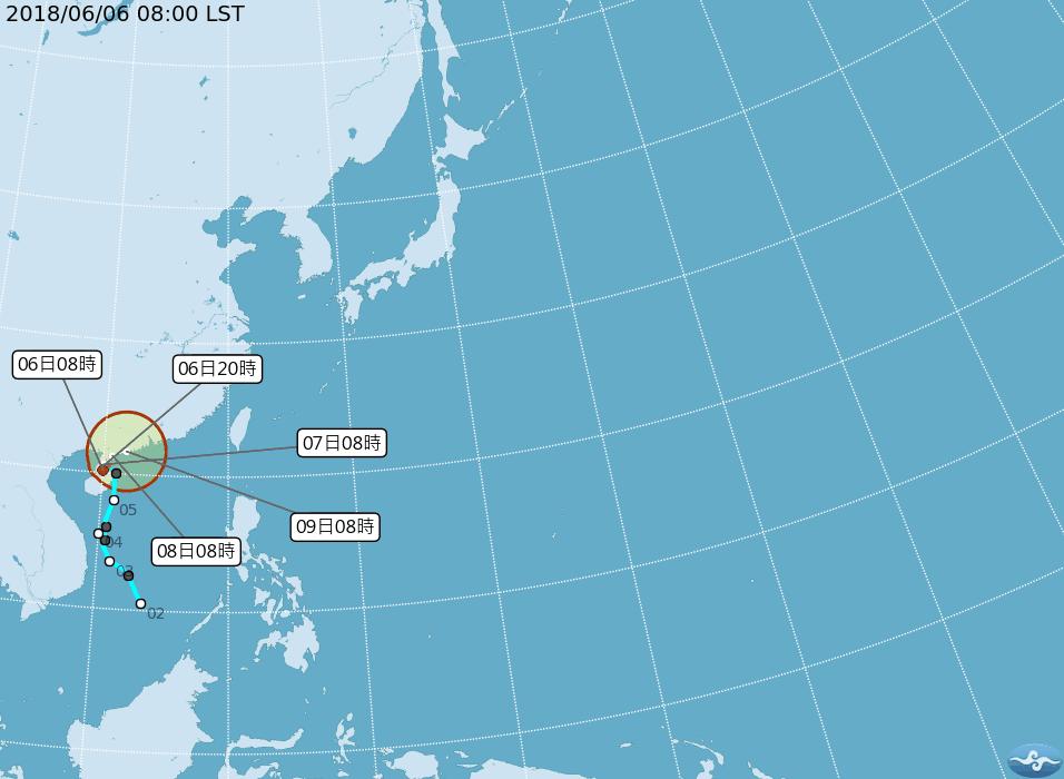 原位於廣東海面的熱帶性低氣壓,於今日上午8時發展為輕度颱風,編號第4號(國際命名...