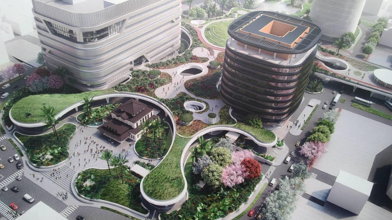 未來新的高雄火車站採下沉式廣場設計,左右兩側分別有旅館和商業大樓,日治時期的舊高...