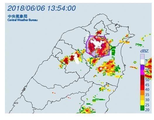 中央氣象局針對台北市、新北市、桃園市、宜蘭縣,發布大雷雨即時訊息。圖/氣象局提供