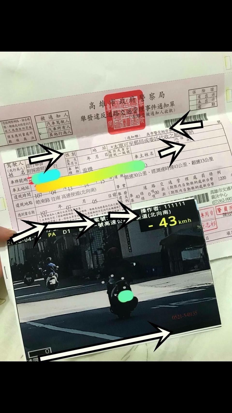 有民眾上網PO罰單,指騎機車行經高雄市三民區皓東路轉高速公路下便道,時速才43公...
