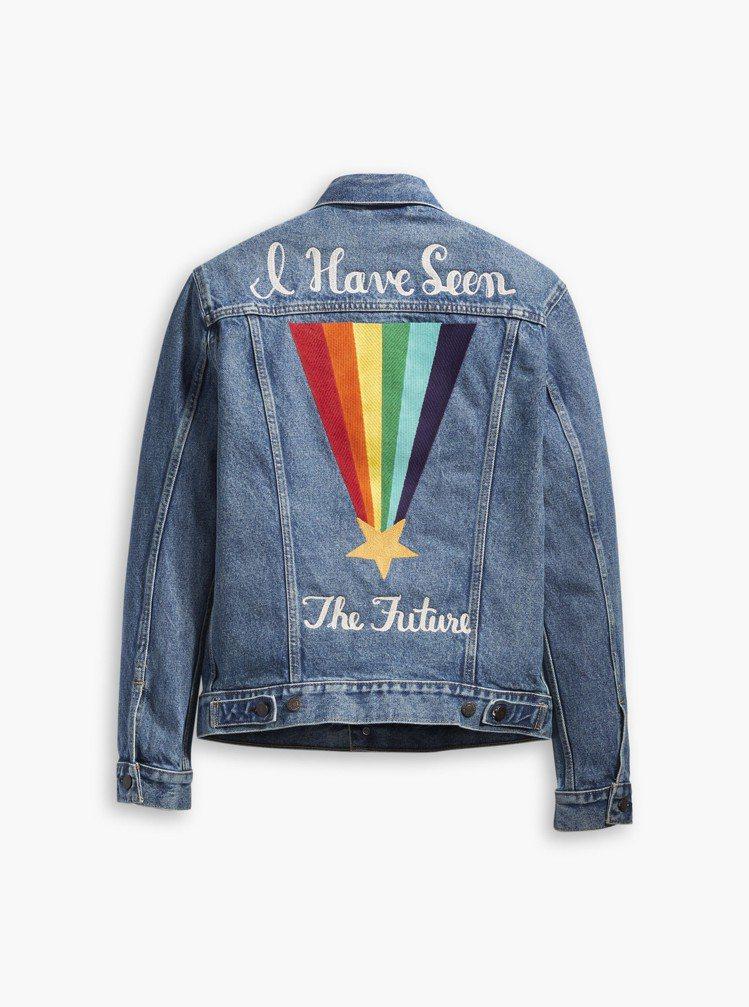 Pride平權系列背後彩虹刺繡丹寧夾克,約4,390元。圖/Levis提供