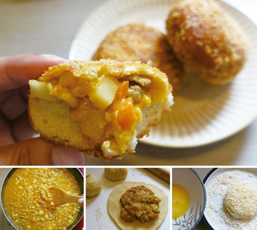 將咖哩煮得稠一點,就可變化為咖哩麵包的餡。圖/太陽臉