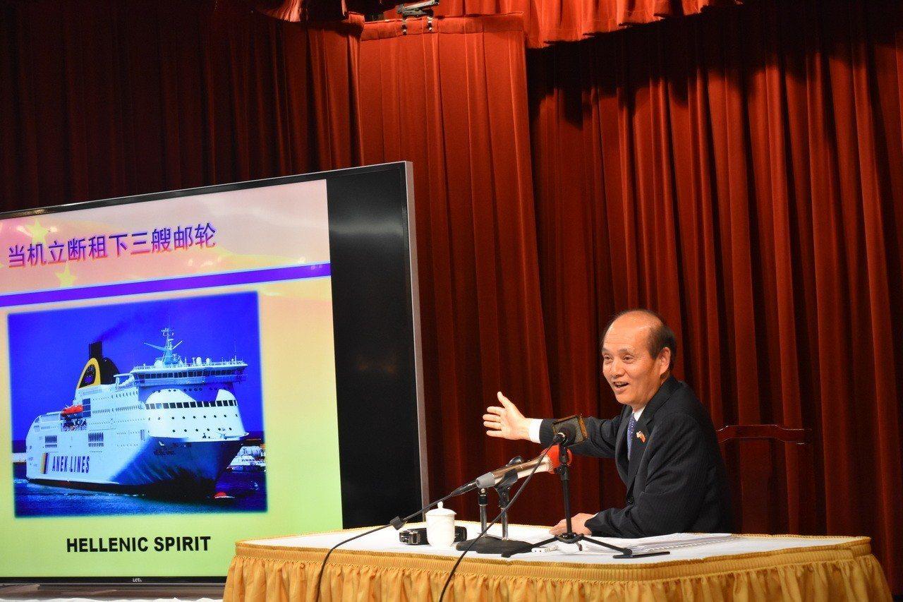 羅林泉任滿前借利比亞撤僑經歷,感謝華人華僑對祖國的貢獻。 記者黃少華╱攝影
