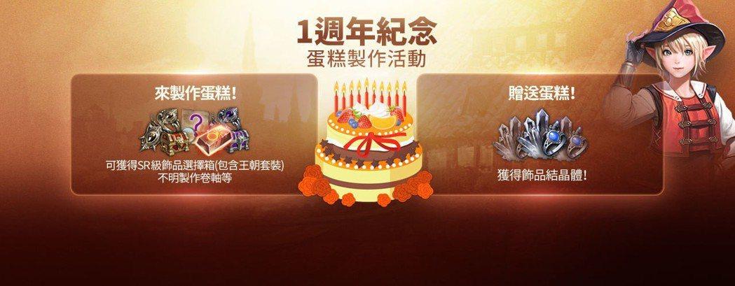 製作一週年紀念蛋糕可獲得豐富的遊戲內獎勵。