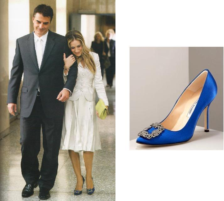 「慾望城市」電影版中這雙藍色Manolo Blahnik婚鞋,當時因影片走紅,價...