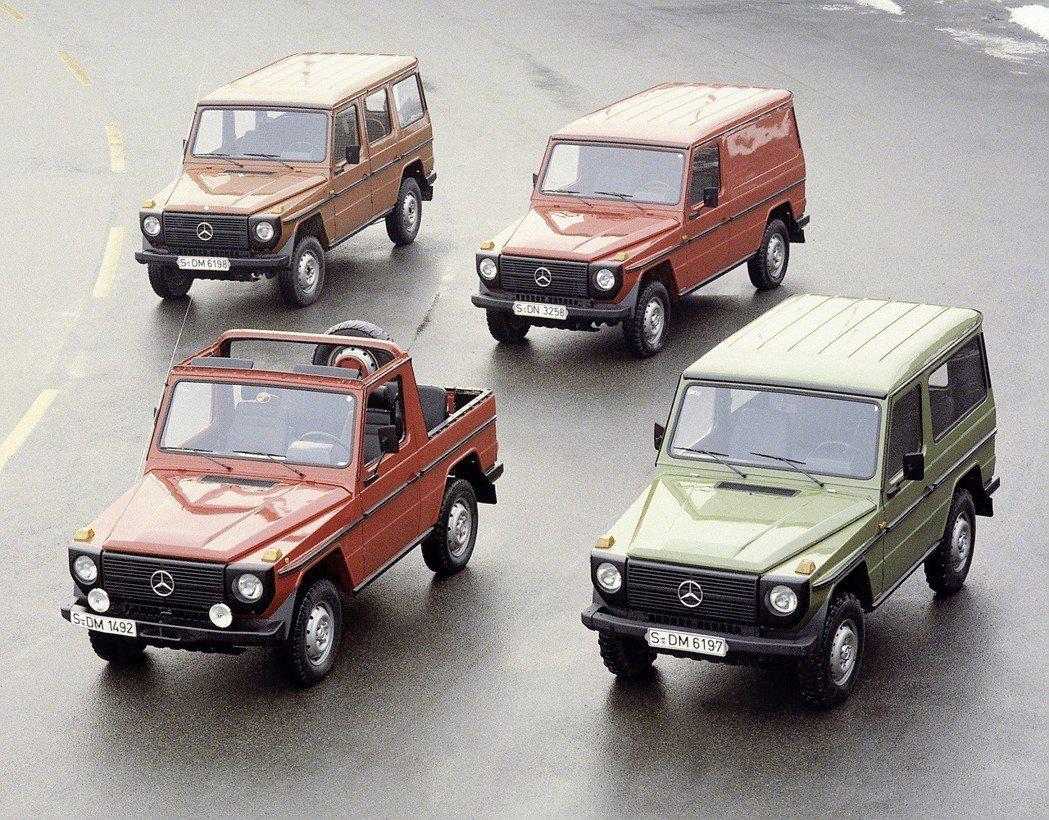1979年G-Wagen正式量產,提供四種動力單元,涵蓋柴油與汽油,並有敞篷、旅行車、貨車等短軸與長軸車型。 圖/Mercedes-Benz提供