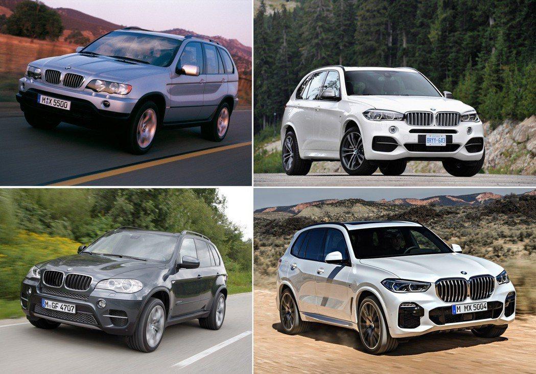 歷屆BMW X5車型。 摘自BMW