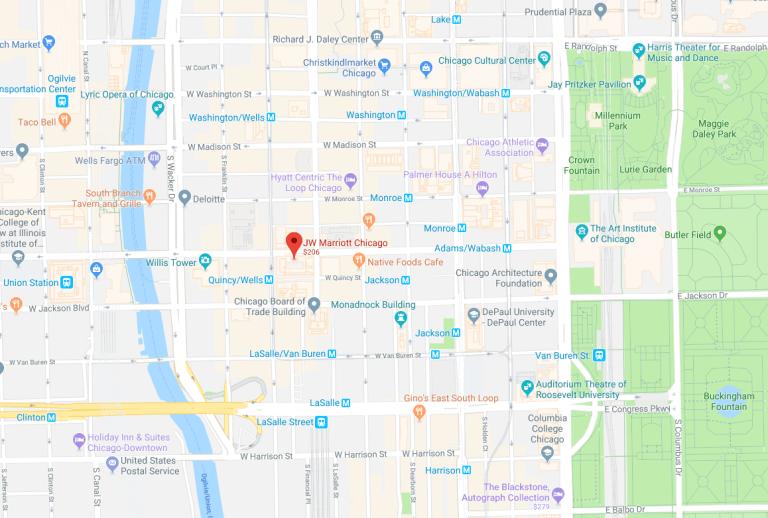 芝加哥JW萬豪酒店的相對位置 圖文來自於:TripPlus