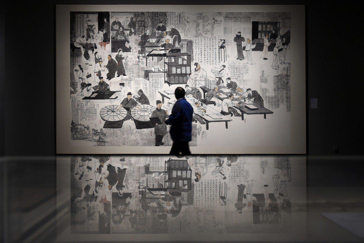 描繪古代書籍製作流程的漫畫圖像。 ©視覺中國