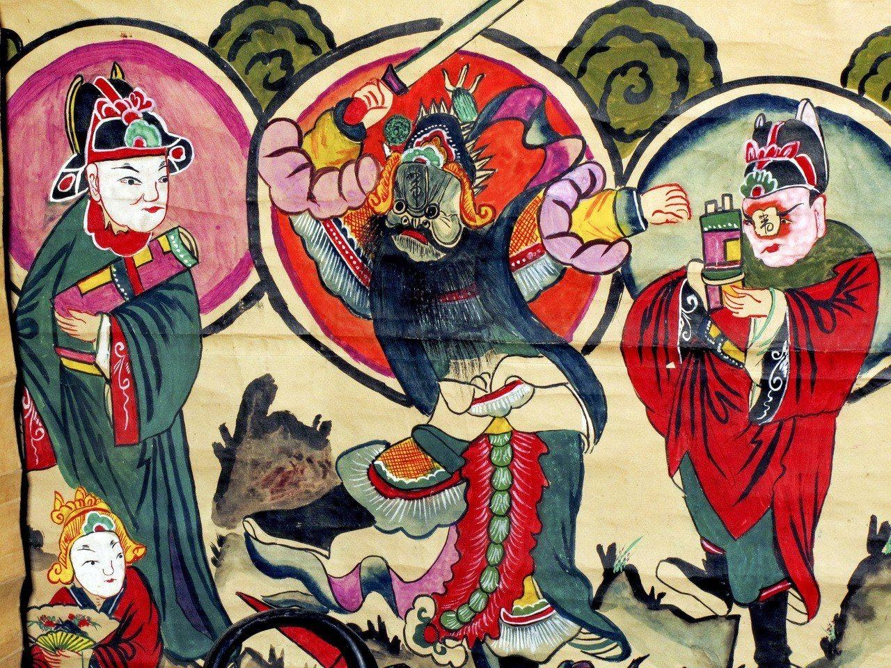 描繪湖南戲的儺戲的民俗畫。儺文化由上古的巫文化演變而來,是巫師驅除疫鬼的宗教儀式...