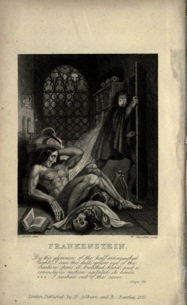 《范肯斯坦》一書內頁,來源:多倫多大學圖書館。Frankenstein, or,...