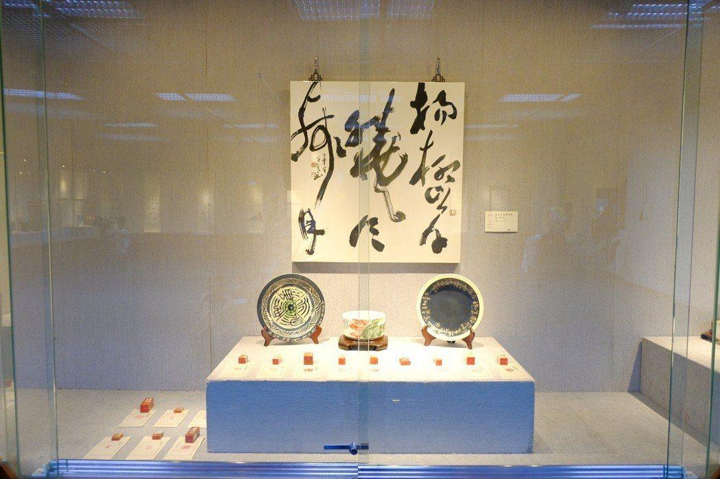 「槑林書篆陶刻展」自6月6起至24日,在新竹縣政府文化局美術館展出。記者陳斯穎/...