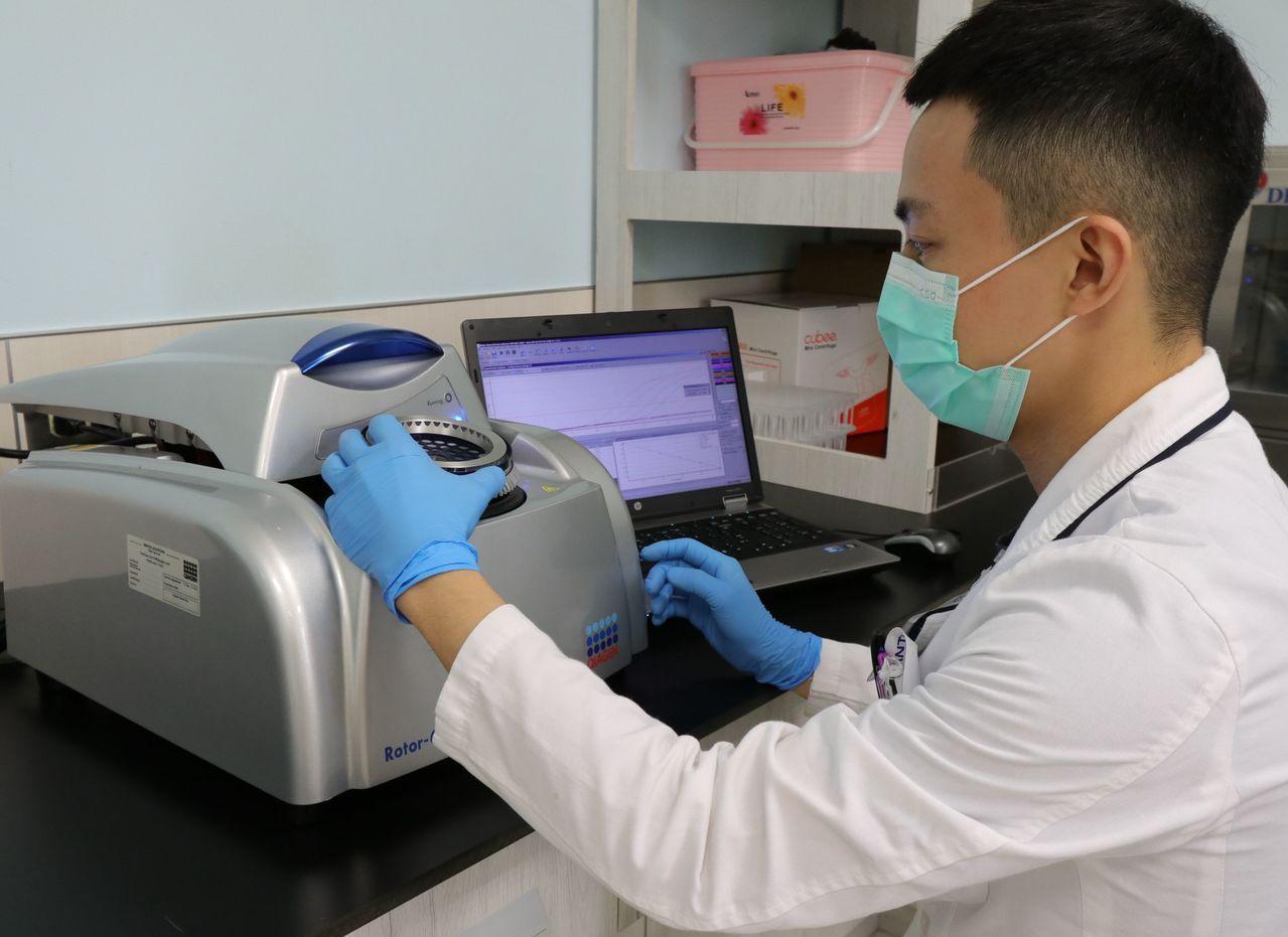 醫師黃建文說明,肺癌腫瘤基因檢測是經由穿刺或手術,取得病患的癌細胞檢體做分析,用...