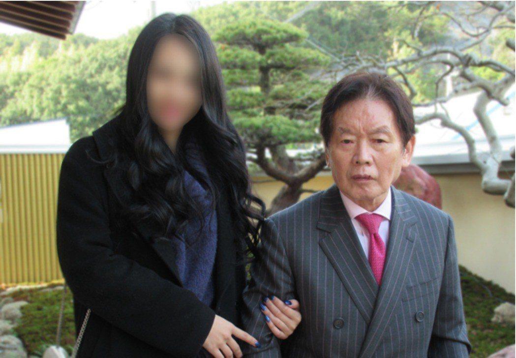 日本77歲富豪野崎(右)上月24日猝逝,和嫩妻S小姐今年2月才結婚。 取自講談社