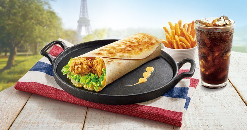 「巴黎卡菲嫩雞捲」套餐。圖/肯德基提供