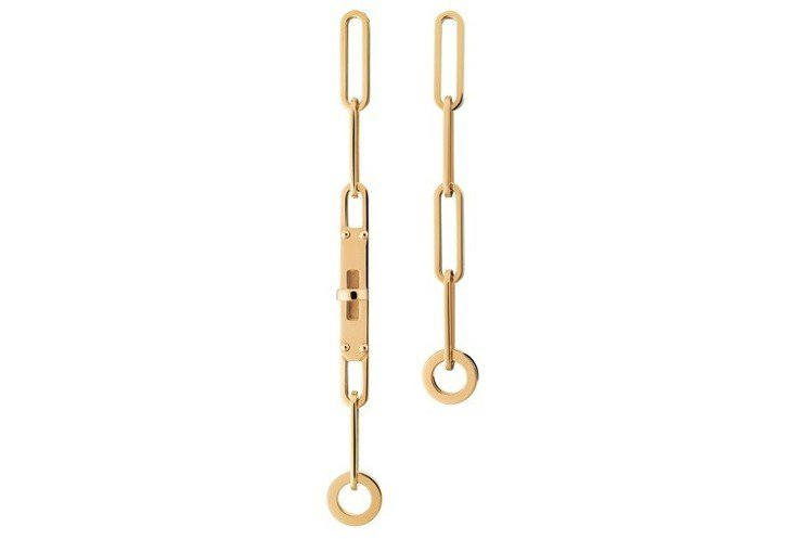 Kelly Chaîne 系列黃K金耳環,76,400元。圖/愛馬仕提供