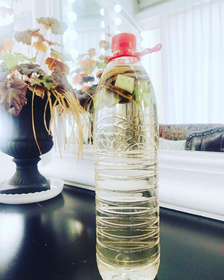 郭雪芙自製的黃瓜檸檬水。圖/擷自instagram