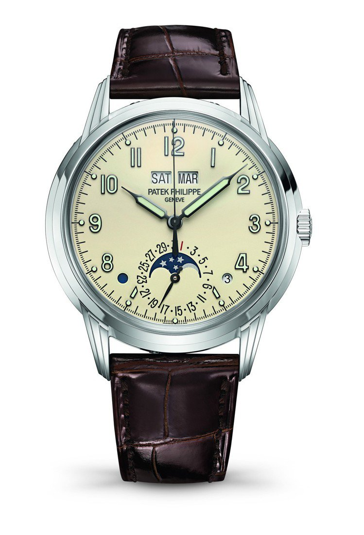 百達翡麗型號5320G_001自動上鍊萬年曆腕表,40毫米18K白金復古表殼、復...