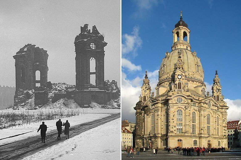 德國的德勒斯登聖母教堂修復前後。 圖/維基共享