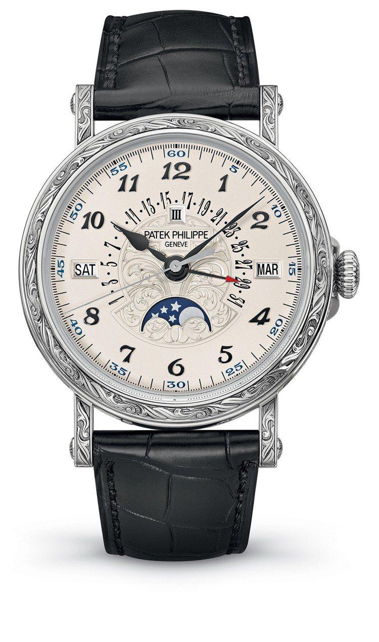 百達翡麗型號5160/500G-001 自動上鍊萬年曆腕表配有自動回位日期指針、...