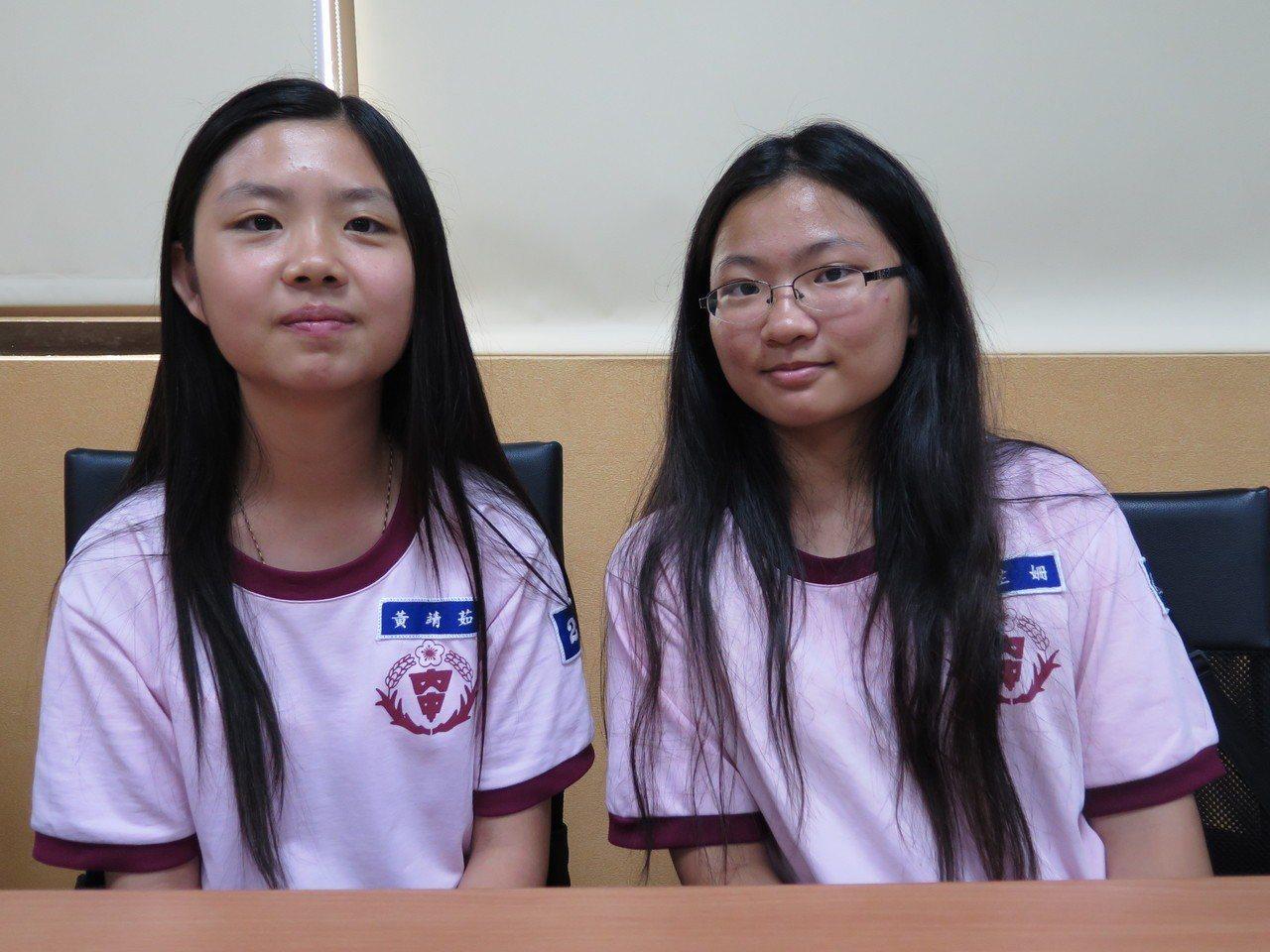 內壢國中學生黃靖茹(左)出身單親家庭,學生李芷姍(右)則罹患糖尿病,兩人都在逆境...