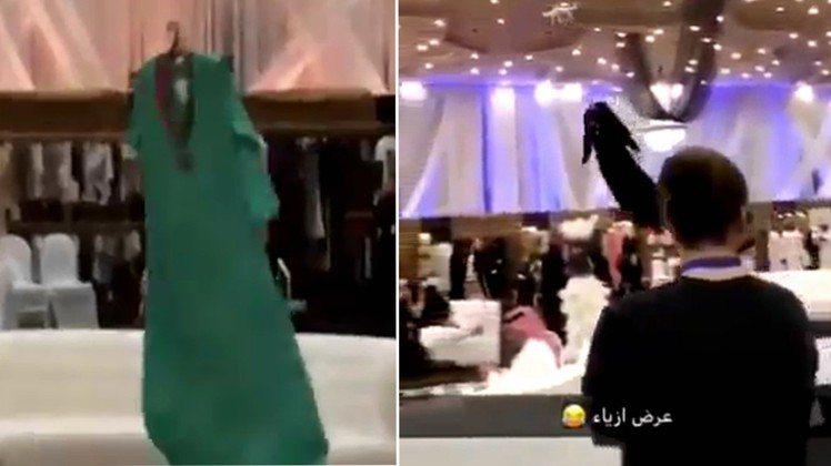 沙國日前1場時裝秀上,以無人機代替模特兒走秀,禮服在空中飄動的樣子,被網友批像在...