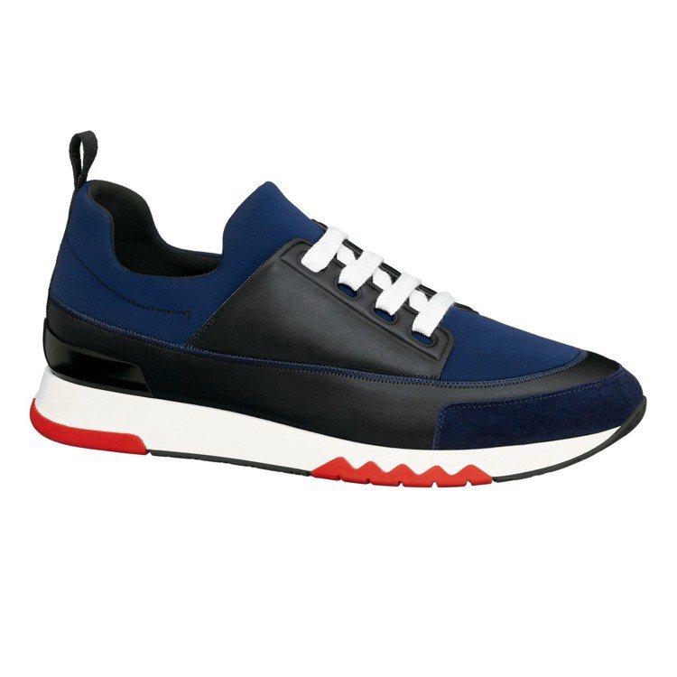 Stadium 系列高科技帆布、小牛皮與山羊麂皮拼接運動鞋,32,500元。圖/...