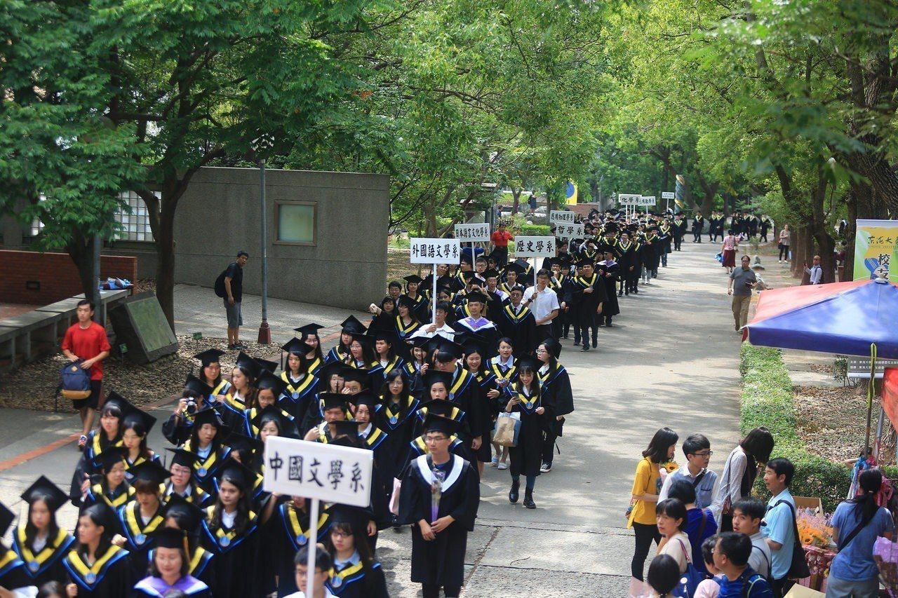 東海大學今天畢業典禮,各系所學生進場。圖/東海大學提供