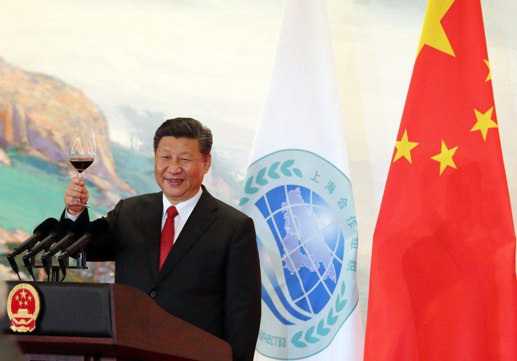燈光煙花匯演賀上合峰會開幕。 中國新聞社