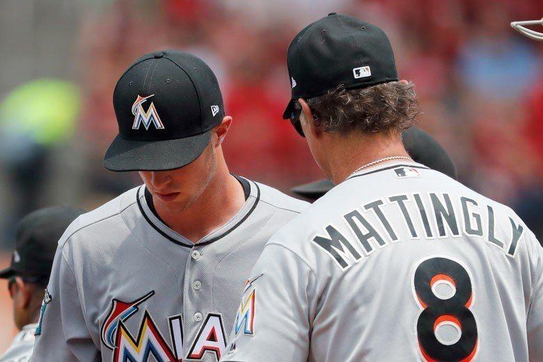 馬林魚菜鳥投手理察茲(左)本季也曾出現4.2局投球只被打1支安打、還飆出10次三...