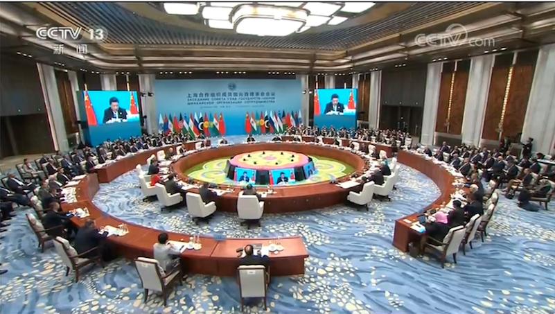 大陸國家主席習近平今日上午在上海合作組織峰會上發言。(照片/截圖央視新聞)