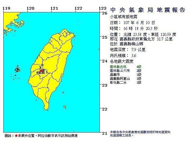 嘉義縣梅山鄉地震,規模3.6。圖/擷取自氣象局網站